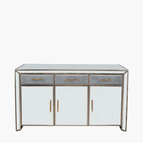 Grey Velvet, Antique Metal and Mirror Sideboard