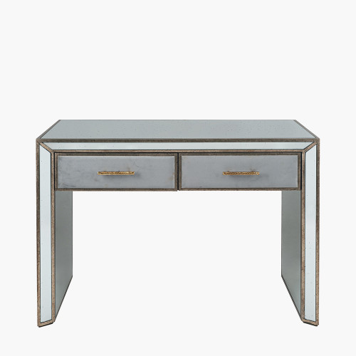 Grey Velvet, Antique Metal and Mirror Console