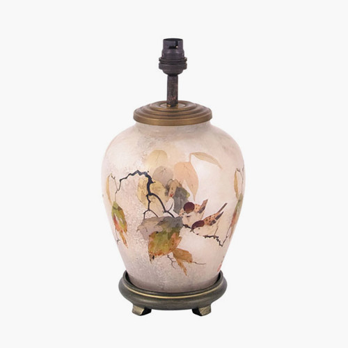 Chinese Bird Small Glass Table Lamp