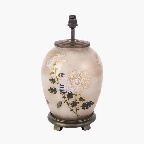 RHS Chrysanthemum Medium Oval Glass Table Lamp