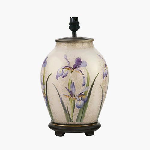 RHS Purple Iris Medium Glass Table Lamp