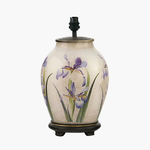 RHS Purple Iris Medium Glass Table Lamp