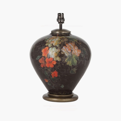 Fruit and Flower Ginger Jar Glass Table Lamp