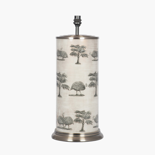 Guinea Foul Large Cylinder Glass Table Lamp