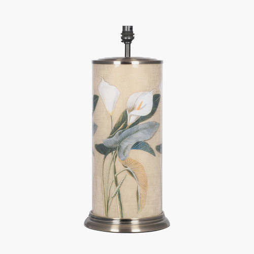 Arum Lily Large Cylinder Glass Table Lamp