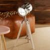 Capstan White Wash Wood & Silver Metal Tripod Table Lamp