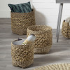 Woven Natural Seagrass and Water Hyacinth S/3 Tall Round Baskets