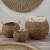 Woven Water Hyacinth S/3 Handled Round Baskets