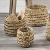 Woven Water Hyacinth S/3 Round Stripe Detail Baskets